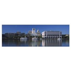 Buildings at the waterfront, Savannah River, Georg Framed Print